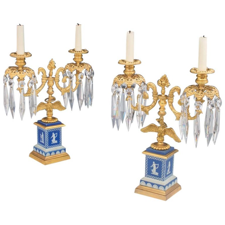 Fine Pair of English Regency Period Candelabra on Blue Wedgwood Bases For Sale