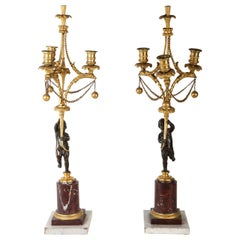 Fine Pair of French 18th Century Bronze and Gilt Bronze Candelabra