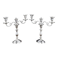 Fine Pair of George III Period, Sheffield Plated, Candelabra