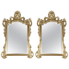 Fine Pair of Italian Rococo Style Carved Giltwood Mirrors, circa 1890
