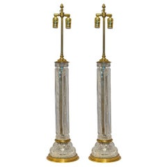 A Fine Pair of Large Cut Crystal Table Lamp