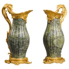Fine Pair of Louis XV Style Marble Ewers by Paul Sormani