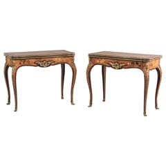 Fine Pair of Louis XV Style Marquetry Inlaid Card Tables, circa 1880