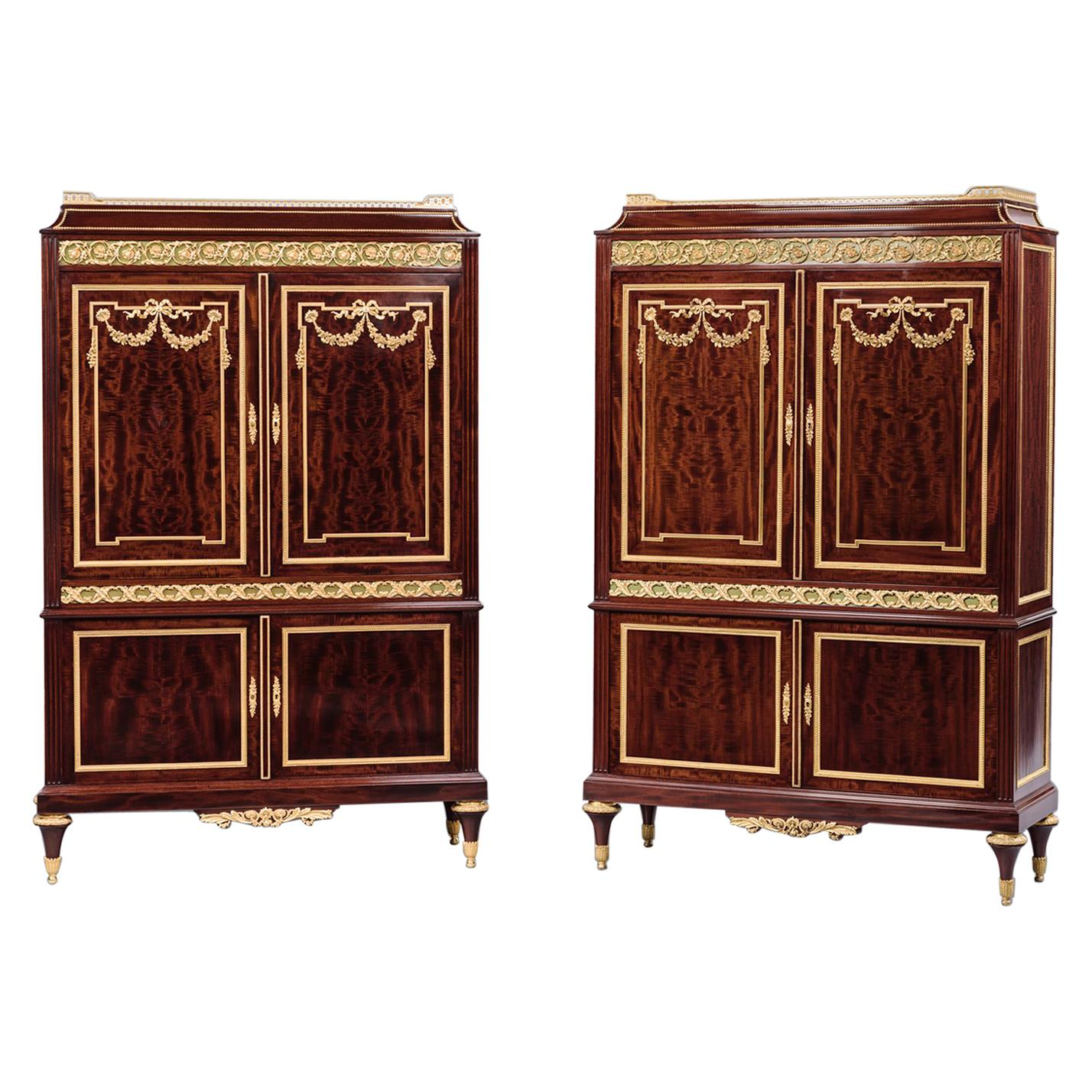 Fine Pair of Louis XVI Style Mahogany Cabinets by Paul Sormani, circa 1870