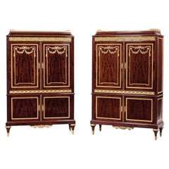 Fine Pair of Louis XVI Style Mahogany Cabinets by Paul Sormani, circa 1870