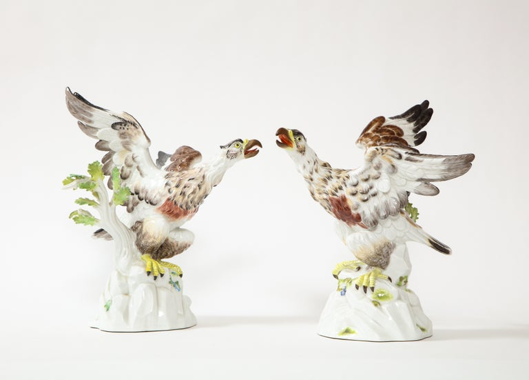 A fine pairof Early 20th Century Meissen Porcelain models of eagles naturalistically resting on branches. Each Eagle can be seen with their wings spread wide out and their beaks open. They are seated on a branch with their talons latched onto the