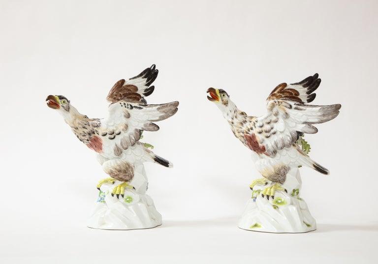 German Fine Pair of Meissen Porcelain Models of Eagles Resting on Branches For Sale