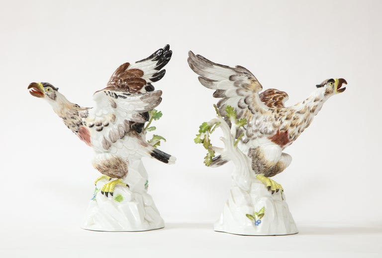 Hand-Painted Fine Pair of Meissen Porcelain Models of Eagles Resting on Branches For Sale