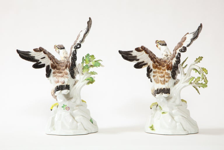 Fine Pair of Meissen Porcelain Models of Eagles Resting on Branches In Good Condition For Sale In New York, NY