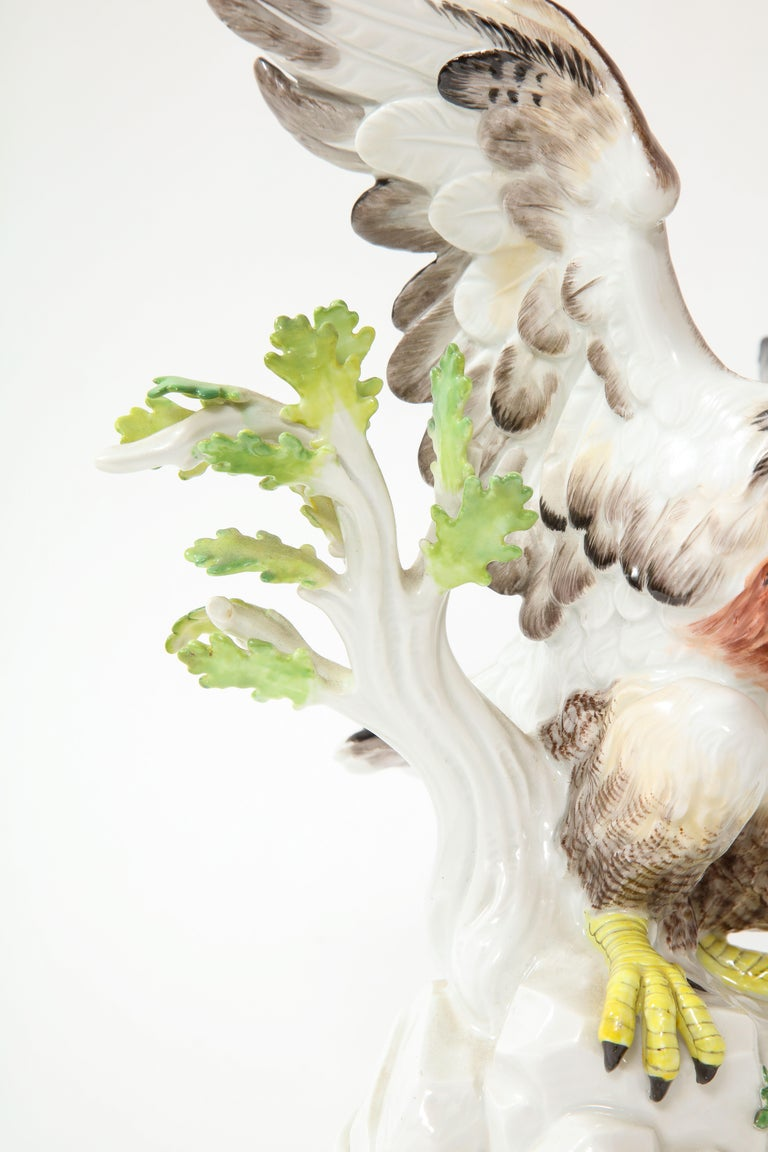 Fine Pair of Meissen Porcelain Models of Eagles Resting on Branches For Sale 2