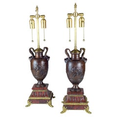 Fine Pair of Neo-Classical Revival Bronze Urns Mounted as Lamps