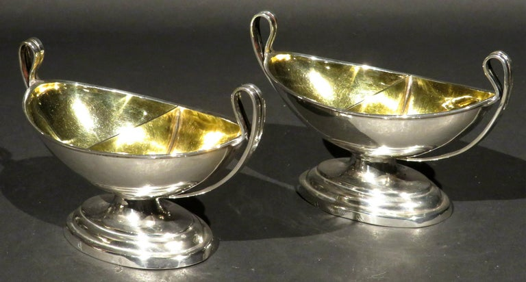 Gilt Fine Pair of Neoclassical Inspired German Silver Double Salt Cellars, Circa 1830 For Sale