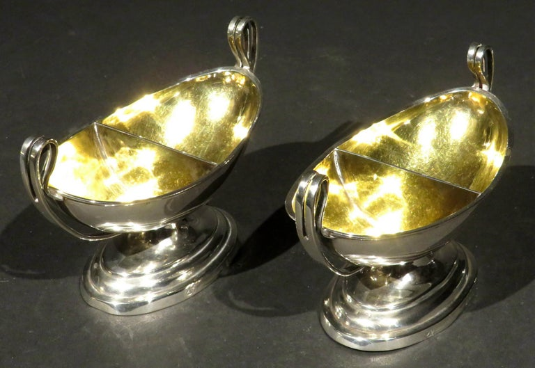 Fine Pair of Neoclassical Inspired German Silver Double Salt Cellars, Circa 1830 In Good Condition For Sale In Ottawa, Ontario