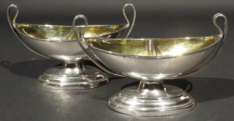 Fine Pair of Neoclassical Inspired German Silver Double Salt Cellars, Circa 1830 For Sale 1