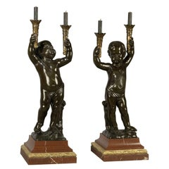 Fine Pair of Patinated Bronze Figural Torchères, circa 1890