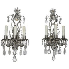 Fine Pair of Silvered, Crystal and Rock Crystal Wall Sconces
