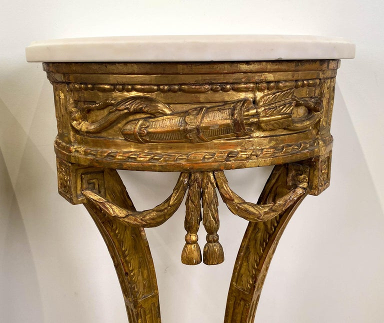 French Fine Pair of Small Louis XVI Carved Giltwood Console Tables For Sale