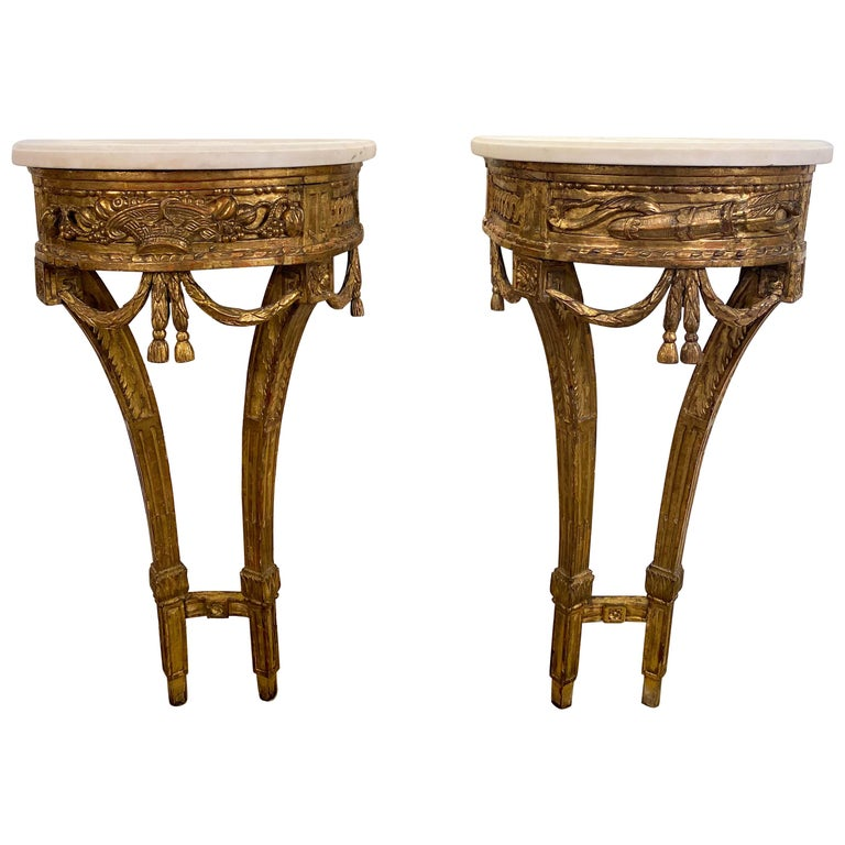 Fine Pair of Small Louis XVI Carved Giltwood Console Tables For Sale
