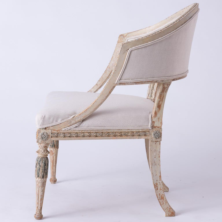 Fine Pair of Swedish Late Gustavian Period Barrel Back Chairs For Sale 5