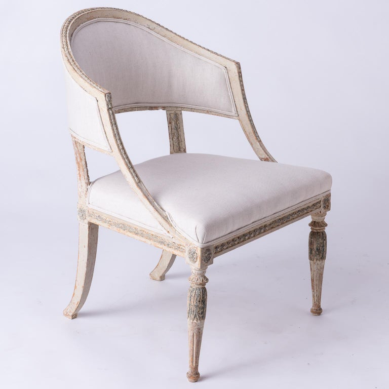 Fine Pair of Swedish Late Gustavian Period Barrel Back Chairs For Sale 7