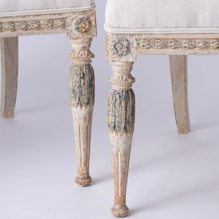 Fine Pair of Swedish Late Gustavian Period Barrel Back Chairs For Sale 2