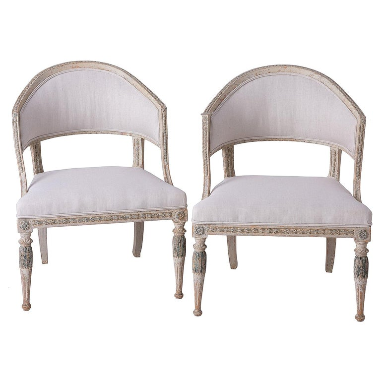 Fine Pair of Swedish Late Gustavian Period Barrel Back Chairs For Sale
