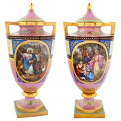 Fine Pair of Vienna Style Austrian Painted Porcelain Vases and Cover