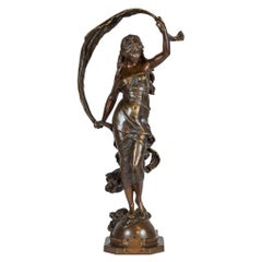 Fine Patinated Bronze Statue Entitled 'AURORE' by Auguste Moreau