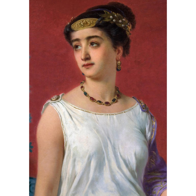 Charles-Édouard Boutibonne French,1816–1897  Portrait of a Young Grecian Beauty  Signed 'E. Boutibonne' L/R   Oil on canvas Measures: 46 in x 28 1/2 inches Frame: 53 in. x 36 in. inches.
