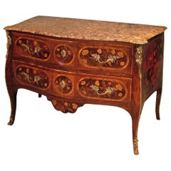 Fine Quality 18th Century Portuguese Rosewood and Marquetry Serpentine Commode