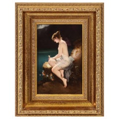 "Fine Quality Antique Berlin K.P.M Hand Painted Porcelain Plaque ""Psyche"""