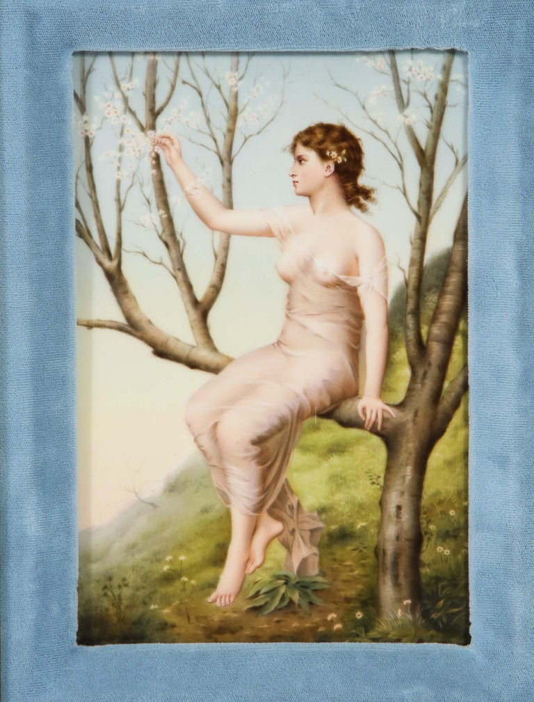 A fine quality antique Berlin K.P.M hand painted porcelain rectangular plaque, circa 1880 in a nice giltwood and blue velvet frame.  Finely painted KPM porcelain plaque depicting a semi-nude woman sitting on a tree in a forest picking flowers. Very