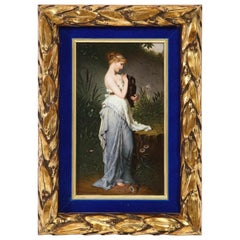 "Fine Quality Berlin K.P.M Hand Painted Porcelain Plaque ""Psyche with Vase"""