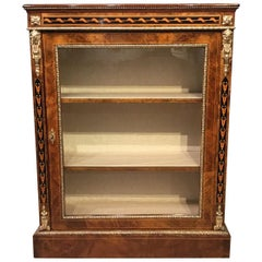 Fine Quality Burr Walnut and Marquetry Inlaid Victorian Period Pier Cabinet