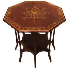 Fine Quality Edwardian Period Octagonal Marquetry Inlaid Table