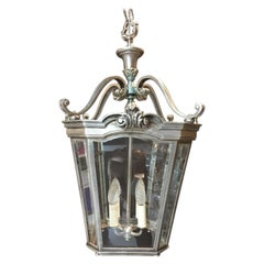Fine Quality, Four-Light, Silvered Bronze Hall Lantern, in the Georgian Style