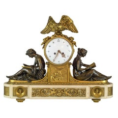 Fine Quality French Gilt and Patinated Bronze Mantel Clock