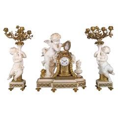 Fine Quality French Gilt Bronze and Carrara Marble Figural Clock Set