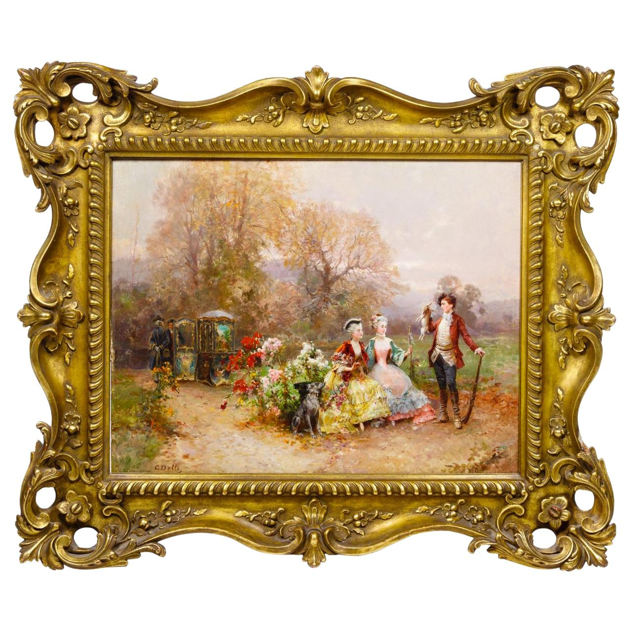 Fine Quality Painting of a Hunter and Two Ladies