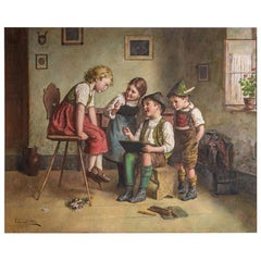 Fine Quality Painting of Children Gathered in a Parlor by Edmund Adler