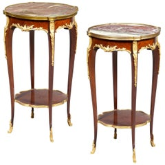 Fine Quality Pair of Louis XVI Style Marble-Top Side Table