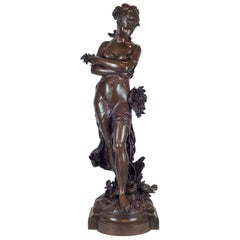 Fine Quality Patinated Bronze Statue of a Robed Woman by Hippolyte Moreau