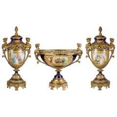 Fine Quality Sèvres Gilt Bronze Mounted and Cobalt Hand Painted Porcelain Garn