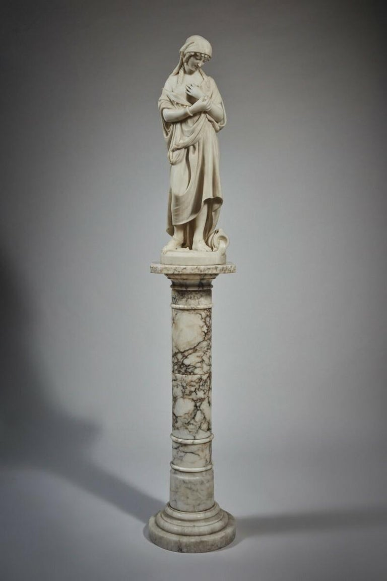 A fine Carrara marble figure of Rebecca. Signed P. Romanelli/Florence.  Title: Rebecca at the well Artist: Pasquale Romanelli (1812-1887) Origin: Italian Date: 19th century Size: 31 1/4 inches high.