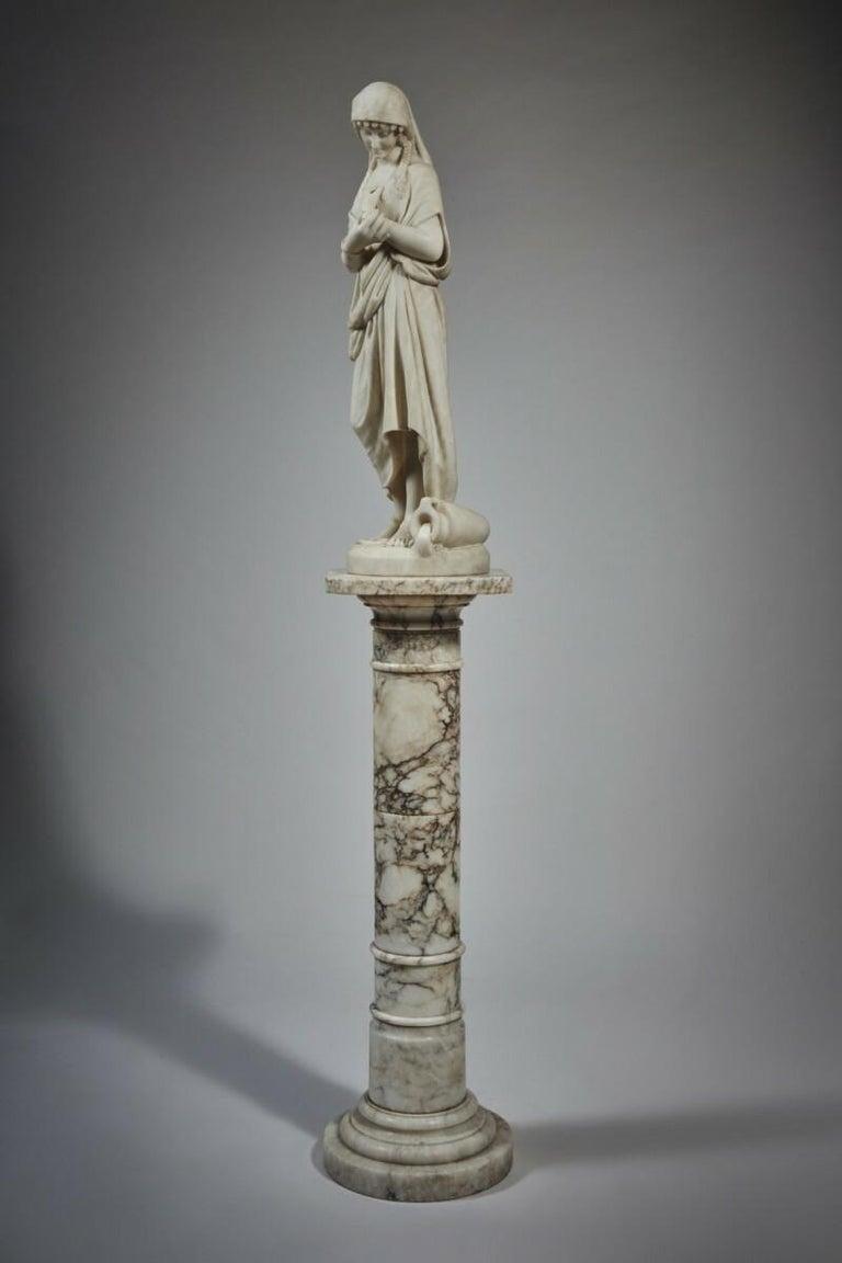 Italian White Marble Statue Sculpture by Romanelli For Sale