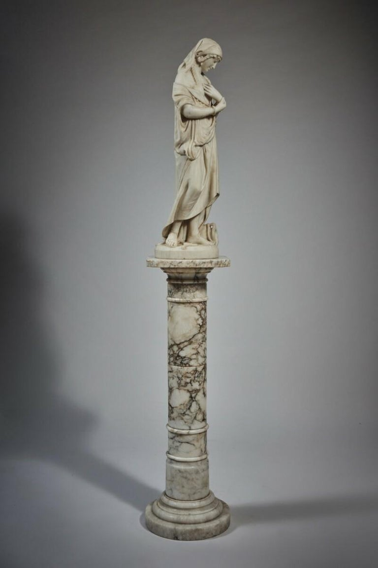 Hand-Carved White Marble Statue Sculpture by Romanelli For Sale