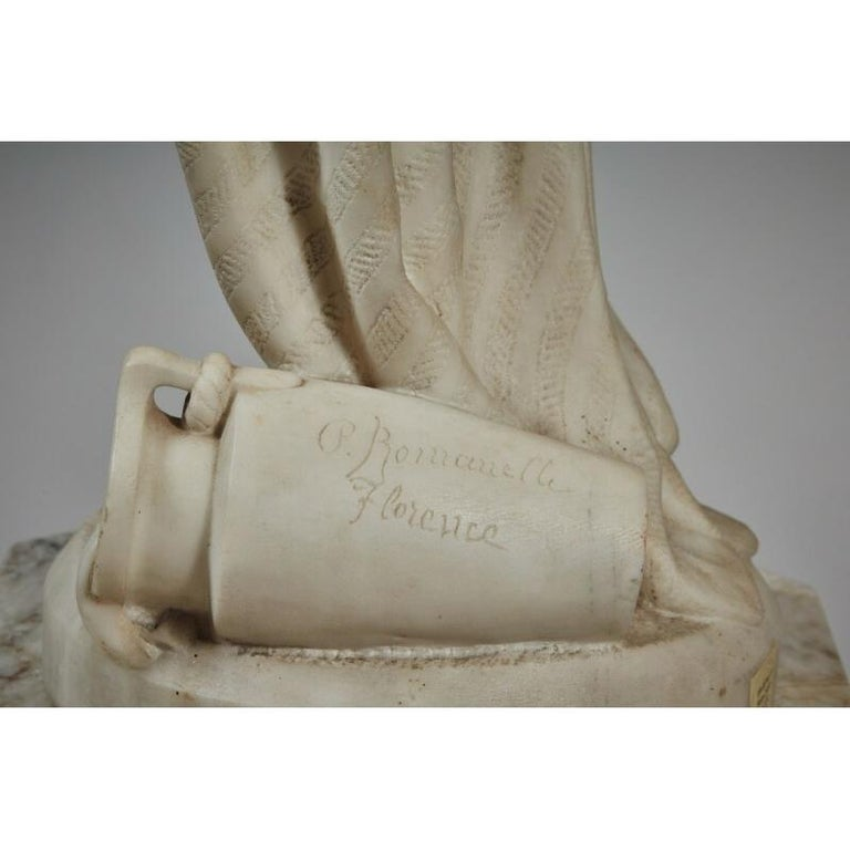 19th Century White Marble Statue Sculpture by Romanelli For Sale