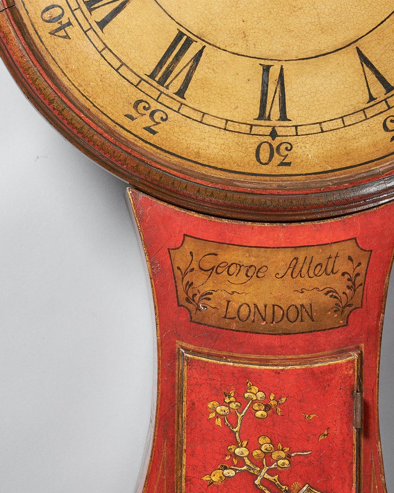 Japanned Fine Red Japaned and Chinoiserie Decorated Late 18th Century Tavern Clock For Sale
