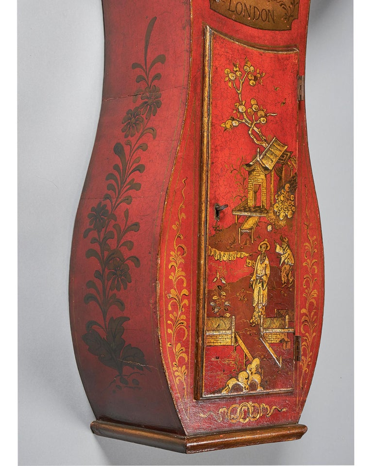 Wood Fine Red Japaned and Chinoiserie Decorated Late 18th Century Tavern Clock For Sale
