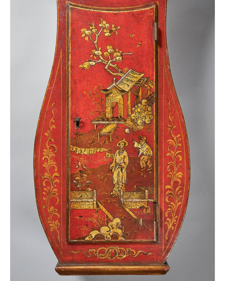 Fine Red Japaned and Chinoiserie Decorated Late 18th Century Tavern Clock For Sale 1